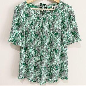 BODEN Green Print Short Sleeve Top